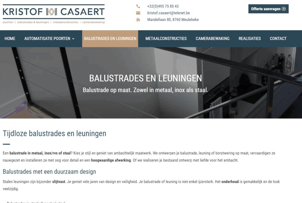 Balustrades en leuningen op maat in inox of staal - Kristof Casaert