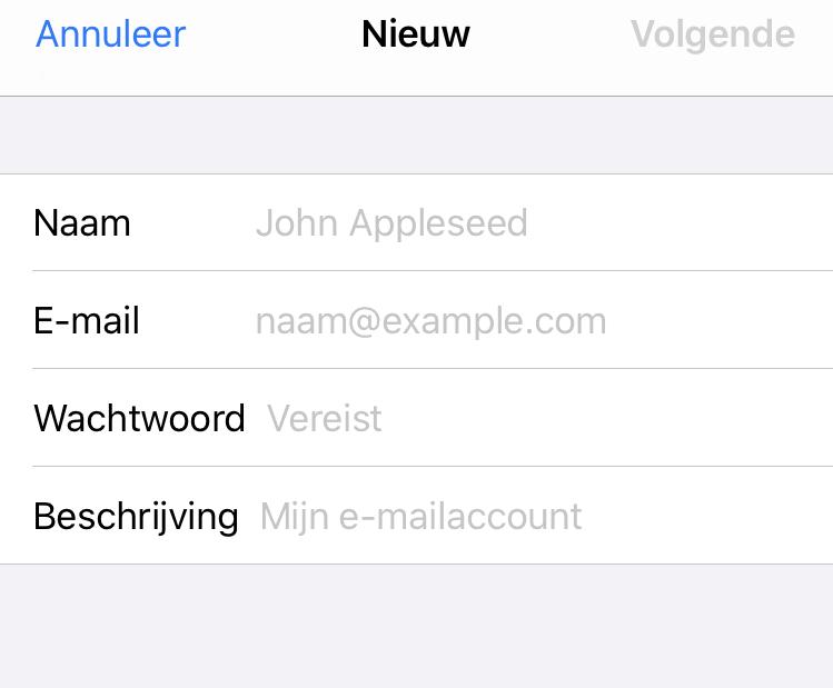 Email instellen: Apple iPhone / iPad iOS 11/12 5