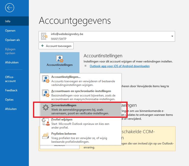 E-mail wijzigen: Microsoft Outlook 2016 / 2019 2