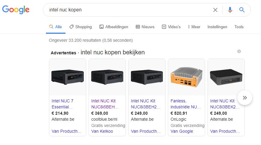 De bekende shopping-advertenties die je allicht hebt tegengekomen in Google